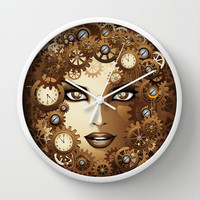 Steampunk Girl Portrait  Wall Clock by Bluedarkat Lem