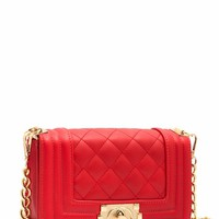 Mini Faux Leather Quilted Handbag