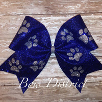"3"" Blue Glitter Cheer Bow with Silver Paw Prints"