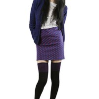 Black Purple Striped Thigh High Socks
