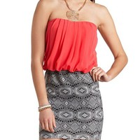 TRIBAL PRINT & CHIFFON STRAPLESS DRESS