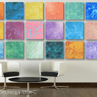 Giant Living Room Wall Art, - Huge 21 panel ORIGINAL Abstract Painting - red, orange, blue, green, purple, coral, yellow, pink, green, black