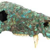 Turquoise-Encrusted Animal Skull