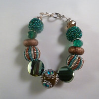 "Handmade teal and bronze beaded wire 8"" bracelet"