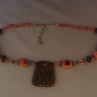 New Handmade Granite Stone Crystal Wood Necklace Silver Pink Brown Costume Jewelry