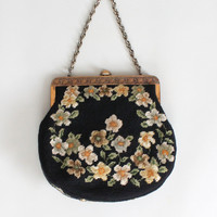 Vintage 1950s Large Floral Needlepoint Purse