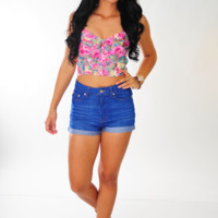 Flower Shower Crop Top: Multi