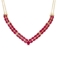 Oval Lab-Created Ruby and Diamond Accent Double Row Chevron Necklace in Sterling Silver with 14K Gold Plate - View All Necklaces - Zales