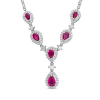 "Pear-Shaped Lab-Created Ruby and White Sapphire Drop Necklace in Sterling Silver - 15"" - View All Necklaces - Zales"