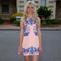Peach Dress with Blue Detailing and Round Neck