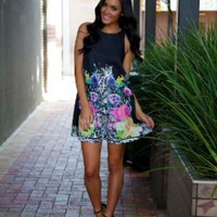 Black Dress with Floral Design
