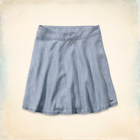 Hollister High Rise Chambray Skater Skirt