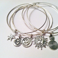 Celestial Theme Charm Bangle Bracelet Set of 5: Chinese Star, Moon, Sun, Star, and Tribal Charm
