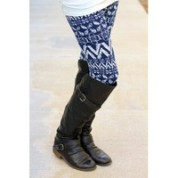 Navy Aztec Leggings
