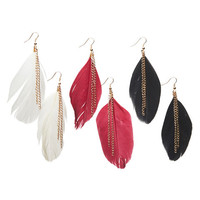 Feather Chain Earring Set - WetSeal