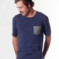Crewneck Pocket Tee - Heather Navy : Marine Layer