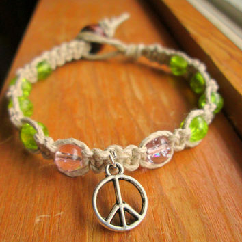 Peace Charm Bracelet Hemp Jewelry Glass Beaded Hemp Bracelet