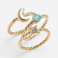 Carole 'Celestial' Stackable Rings (Set of 3) (Juniors) | Nordstrom