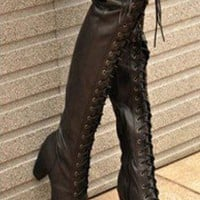Womens Black Buckle Strap Lace Up Punk Goth Over The Knee Thigh High Boots B113 on eBay!