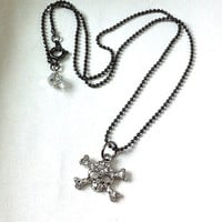 Little rhinestones skull and crossbones necklace , skull necklace, pirate necklace, gifts for her, fun jewelry, emo jewelry , gothic jewelry