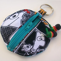 Phineas and Ferb Earbud Holder / Perry The Platypus Coin Purse / Disney Circle Pouch