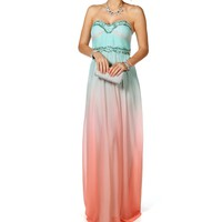 Ava-Peach/Mint Prom Dress