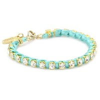 Ettika Gold Colored Rhinestone Chain and Turquoise-Color Satin Bracelet