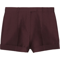Valentino - Pleated cotton and silk-blend shorts