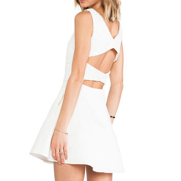 Line & Dot Lace Strap Back Dress in White from REVOLVEclothing.com