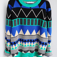 Diamond geometric pattern loose pullover