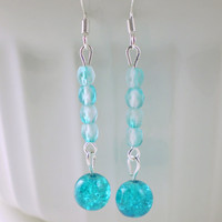 Brilliant Blue Drop Earrings, Blue Earrings, Turquoise Earrings, Blue Bead Earrings