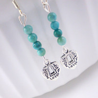 Turquoise Love Earrings, Turquoise Earrings, Love Earrings, Charm Earrings, Teal Earrings