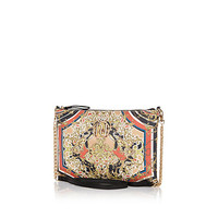 Orange baroque scarf print cross body bag - cross body bags - bags / purses - women