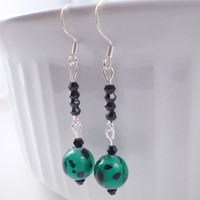 Black Teal Earrings, Teal Earrings, Black Earrings, Long Black Earrings, Long Teal Earrings