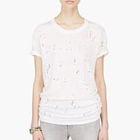 OFF-WHITE LINEN SHREDDED CLAY T-SHIRT