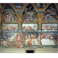 The Rustic Banquet Celebrating the Marriage of Cupid and Psyche, from Sala Di Amore E Psiche, 1528 Giclee Print by Giulio Romano at Art.com