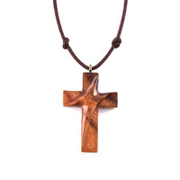 Wood Cross Pendant, Men Cross Necklace, Wooden Cross Necklace, Christian Jewelry, Wood Pendant, Wood Jewelry, Hand Carved Cross, Wood Cross