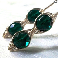 Dark Emerald Green &amp; Silver WireWrapped Long by MozieandMario