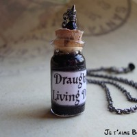 DRAUGHT OF LIVING DEATH - Harry Potter Inspired Vial Necklace with sw | JetaimeBoutique - Jewelry on ArtFire
