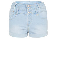 Teens Light Blue Bleach Wash High Waisted Denim Shorts