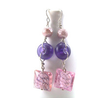 Murano Pink Square Glass Drop Earrings with Matte Finish Beads