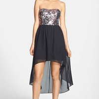 Hailey Logan Sequin Bodice High/Low Dress (Juniors) (Online Only) | Nordstrom