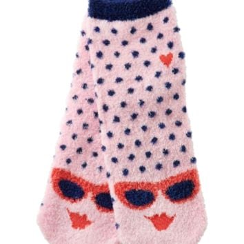 Shea-Infused Lounge Socks Navy & Pink
