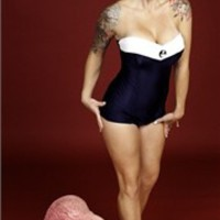 Pinup Swimsuits - New Strapless Navy Blue & White Retro Rockabilly Sailor Girl Swimsuit with Anchor Button Detail