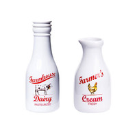Old Fashioned Milk Bottle and Creamer