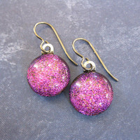 Dichroic Pink Niobium Earrings for Very Sensitive Ears, Purple Dangle Earrings, Fused Glass Jewelry, Niobium Ear Jewelry - Skyler - 0100 -4
