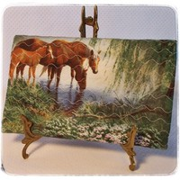 Wallet Horses Grazing Medium Green Blue Yellow Brown Plaid Handmade | kathisewnsew - Bags & Purses on ArtFire