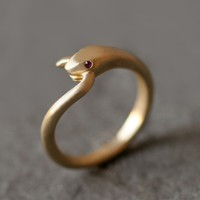 Snake Tail Ring with Gemstone Ruby