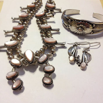 Navajo Pink MOP Squash Blossom Necklace Cuff Bracelet Earrings Sterling Silver Set Vintage 1940s Mother of Pearl Native American Bridal 925