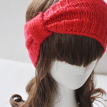 Crochet Flower Bow Knitted Headwrap Headband Ear Warmer Hair Muffs Band Winter (Red)